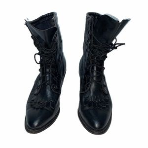 Durango leather mid calf black boots pointed toe